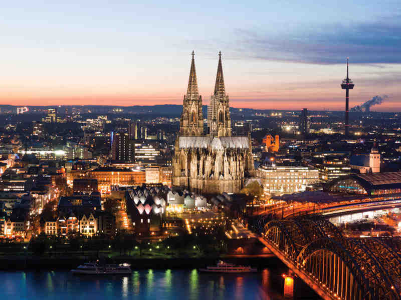 night, view, cologne, germany